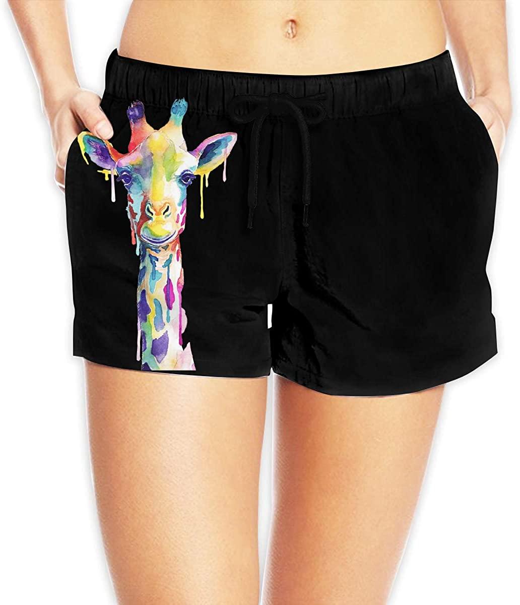 LzVong Watercolor Giraffe Women's Female Beach Pants Summer Beachwear Board Shorts