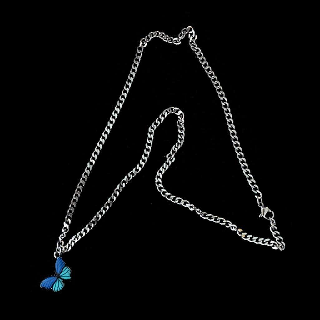minansostey Stainless Steel Colorful Butterfly Choker Pendant Necklace Women Fashion Jewelry