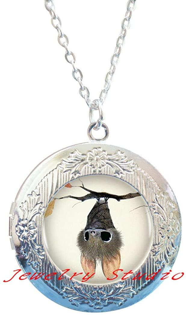 Bat Locket Pendant Locket Necklace Siver Fashion Locket Necklace Women Jewelry Inspiring Word Gifts,Silver Bat Locket Necklace, Cute Bat Charm Locket Necklace,Halloween Bat Locket Necklace-HZ00121
