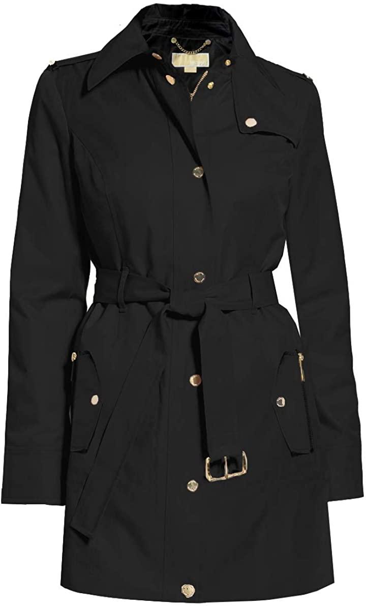 Michael Michael Kors Women's Black Hooded Belted Trench Coat Jacket