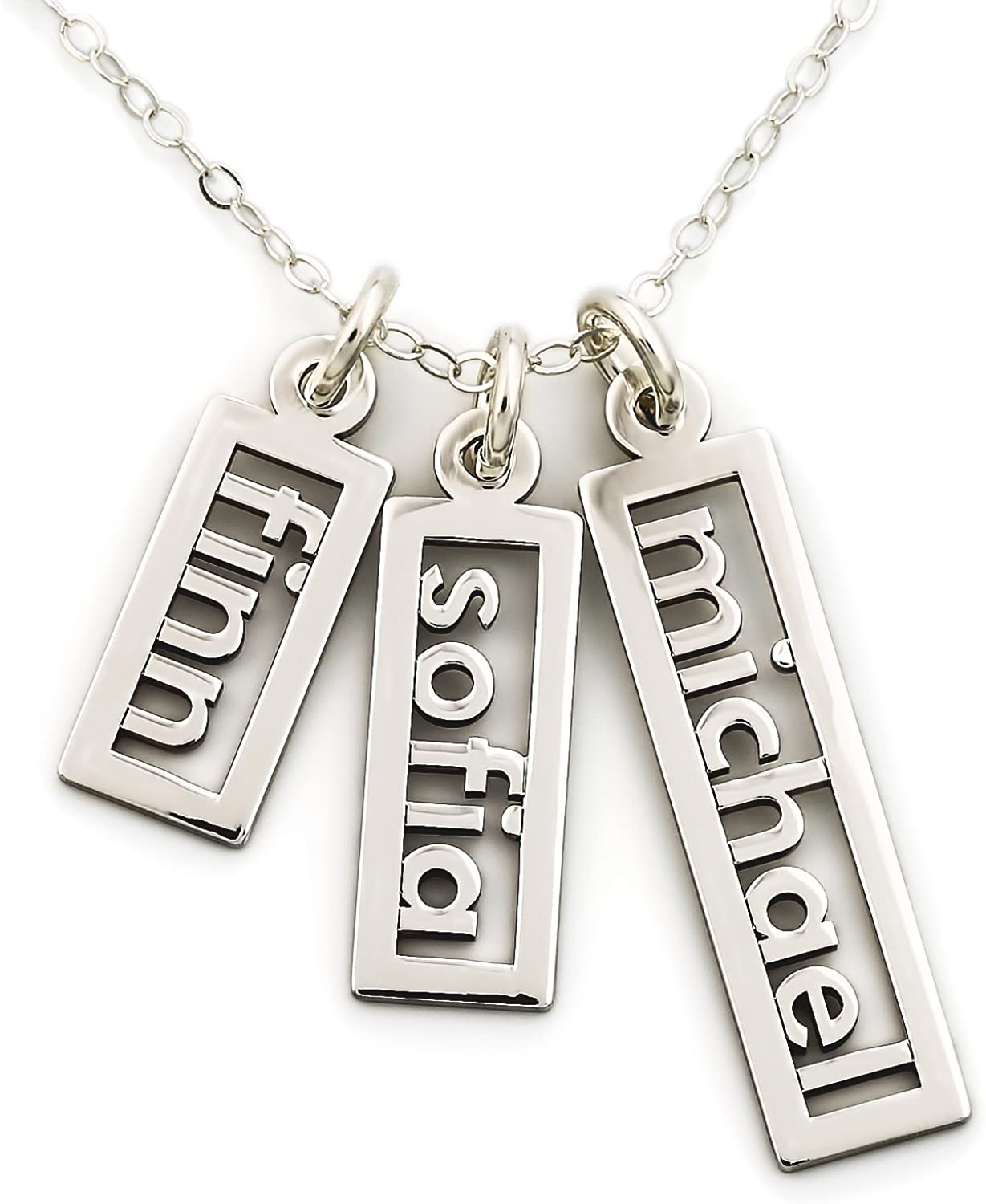 AJ's Collection Personalized Necklace Open Triple Name Sterling Silver or 14k Gold Plate over Sterling Silver