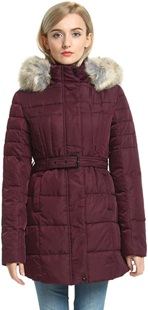 Second Color Thickened Puffer Jacket Ladies, Padded Down Alternative Belt Long Parka Fur Hood