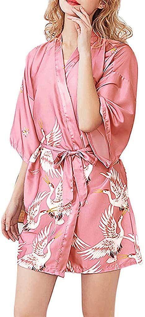 Women's Day Nightwear Lingerie,Sale New Women Simulation Silk Pajamas Sexy Print Lingerie Bathrobe Bride Robe