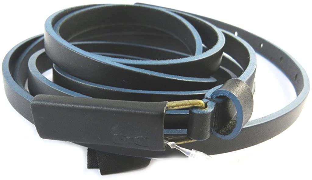 Women's leather belt 'Eden Park'black blue (double turn)- 10 mm (0.39'').
