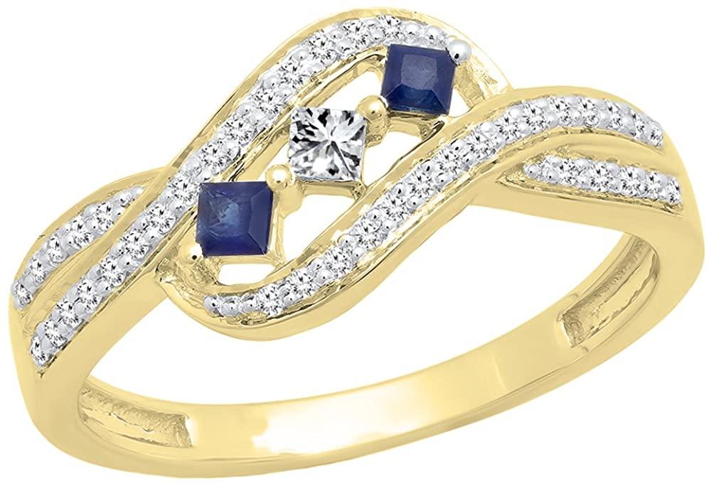 Dazzlingrock Collection 14K Gold Princess Cut Blue Sapphire & Princess & Round Diamond Ladies 3 Stone Promise Ring