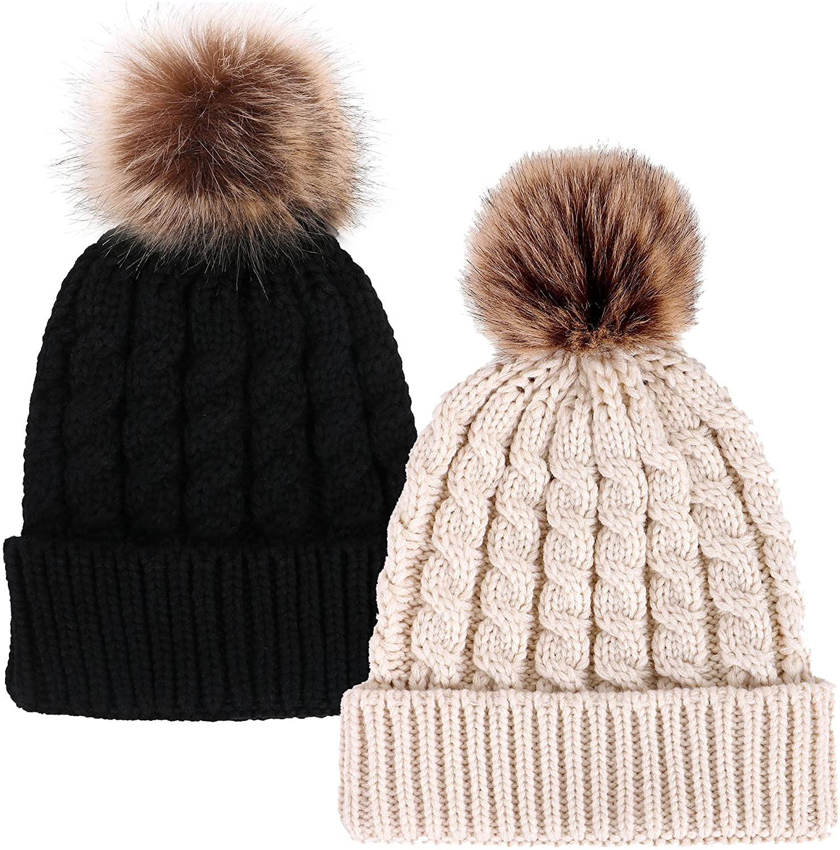 Simplicity Womens Winter Hand Knit Faux Fur Pompoms Beanie Hat