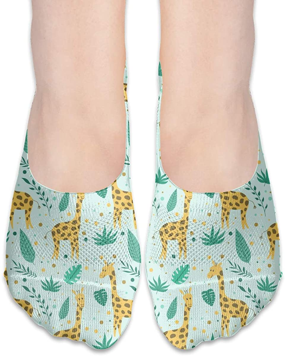 No Show Socks For Women Giraffe And Flowers Low Cut Sock Liners Invisible Socks