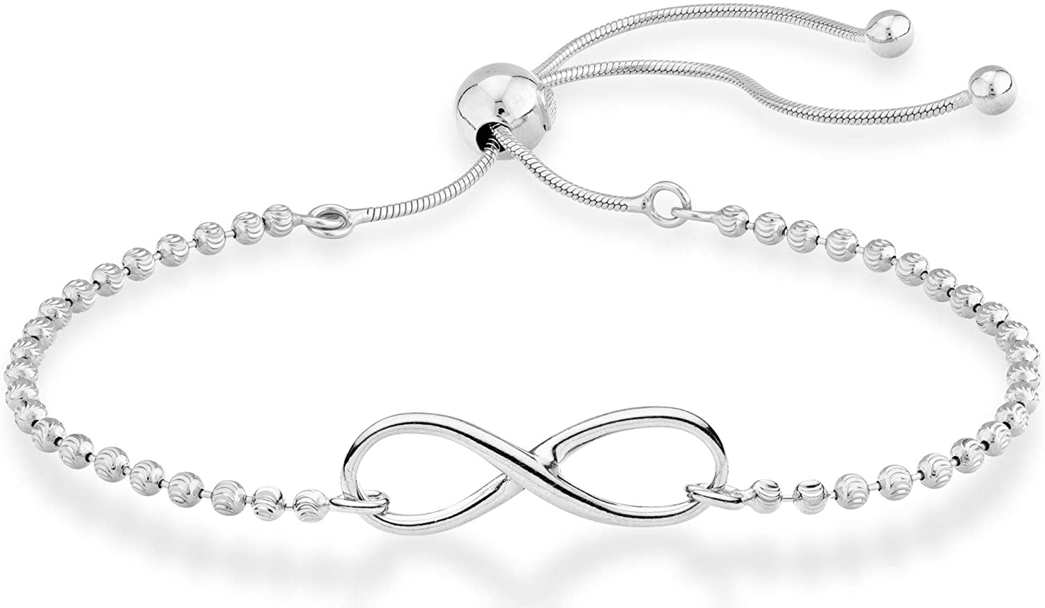 Miabella 925 Sterling Silver Infinity Adjustable Bolo Beaded Ball Chain Bracelet for Women Teen Girls, Choice of 18K Gold Plated or Silver Made in Italy