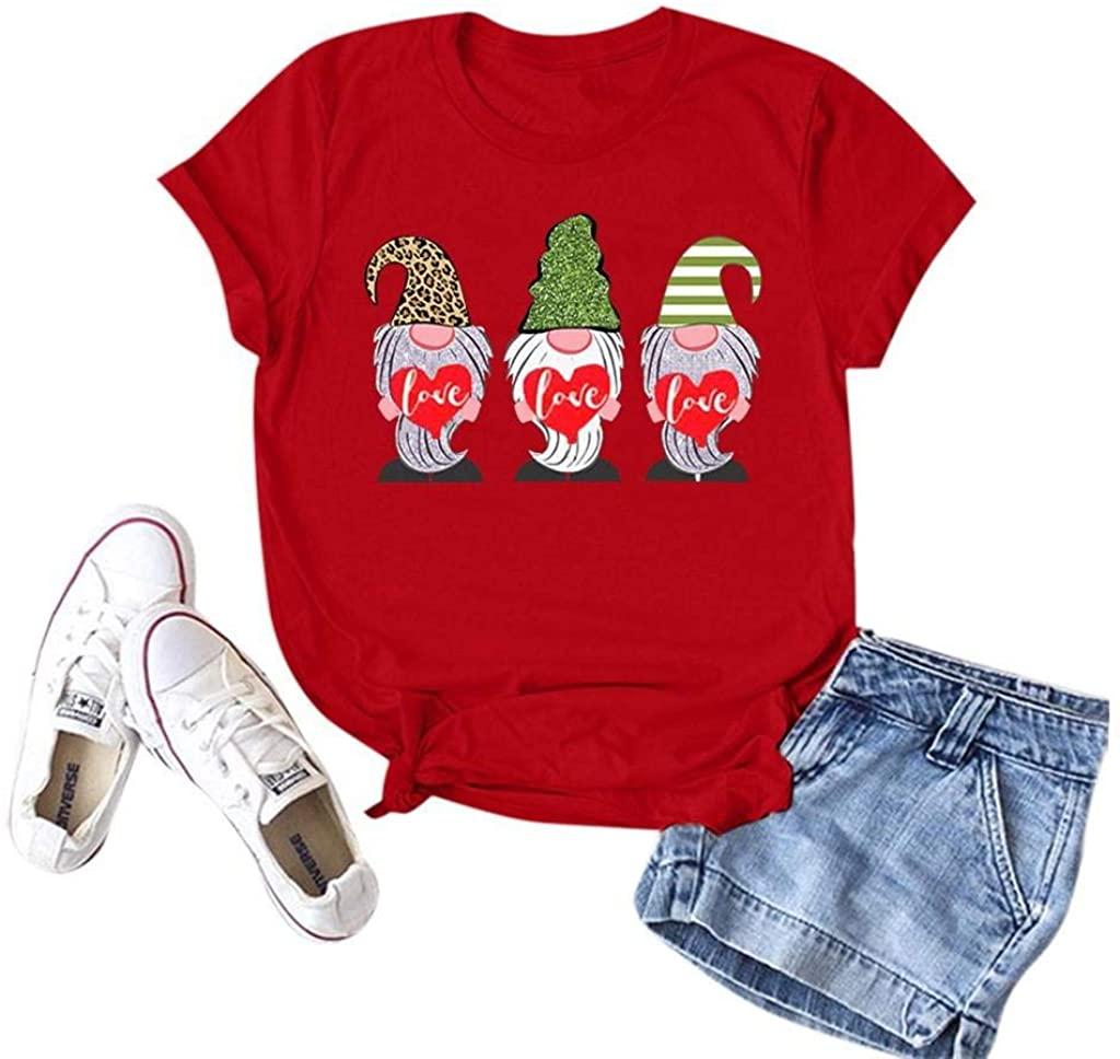 terbklf for Her Women's Basic Tee Summer Short Sleeve T Shirt Cartoon Graphic Tops Vest Plus Size