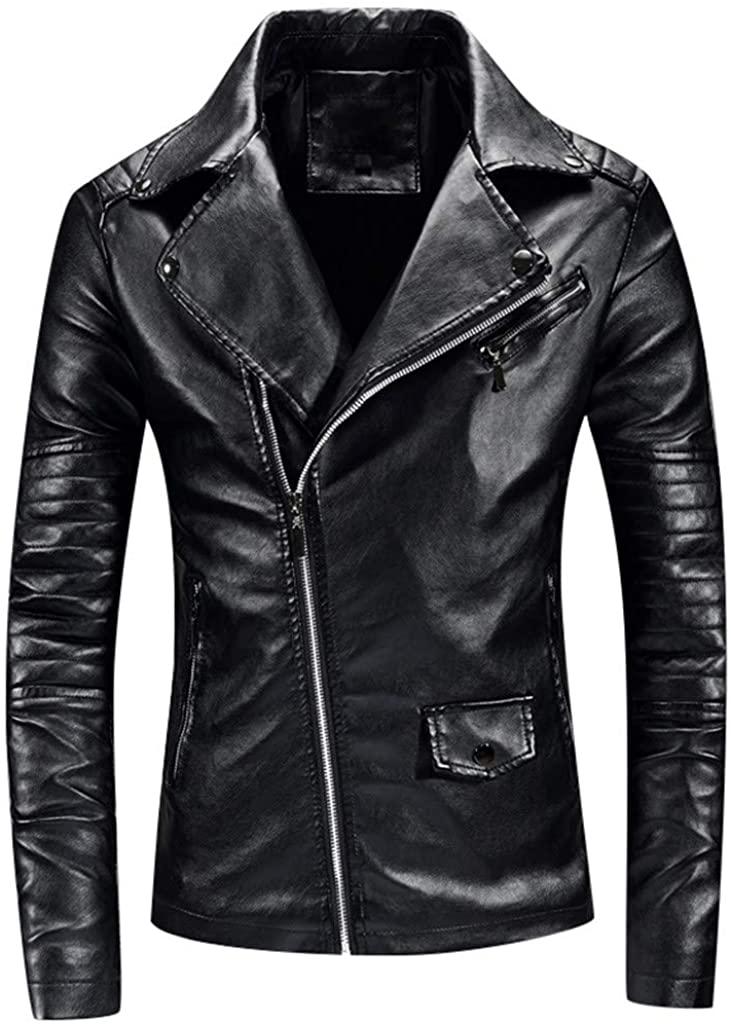 Mens Vintage Asymmetric Zip Lightweight Racer Biker Motorcycle Slim Short Coat