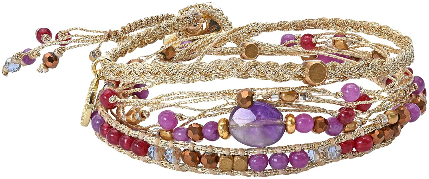 Beautifully Vibrant Simulated Amethyst Round Cotton Rope Wrap Bracelet