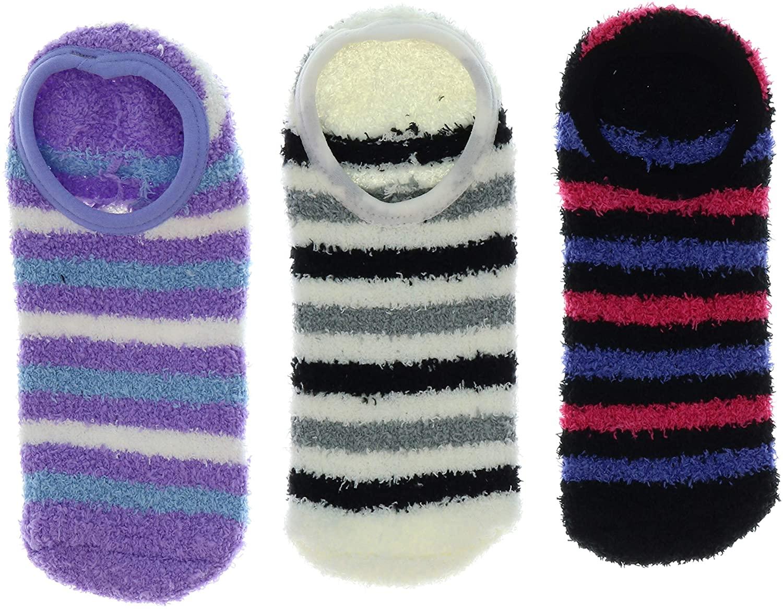 Comfy Women's Fuzzy Ankle Slipper Socks with Grippers (3Pr) (Pink, Purple Black)