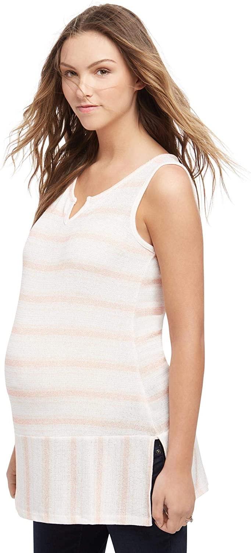 Motherhood Striped Lace Trim Maternity Tank