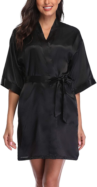 Women's Short Satin Kimono Robes Pure Color Sleepwear Bathrobe for Wedding Party