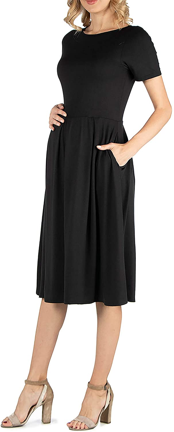 24seven Comfort Apparel Womens Maternity Short Sleeve Pleated Midi Dress with Pockets - Made in USA -Small-3X