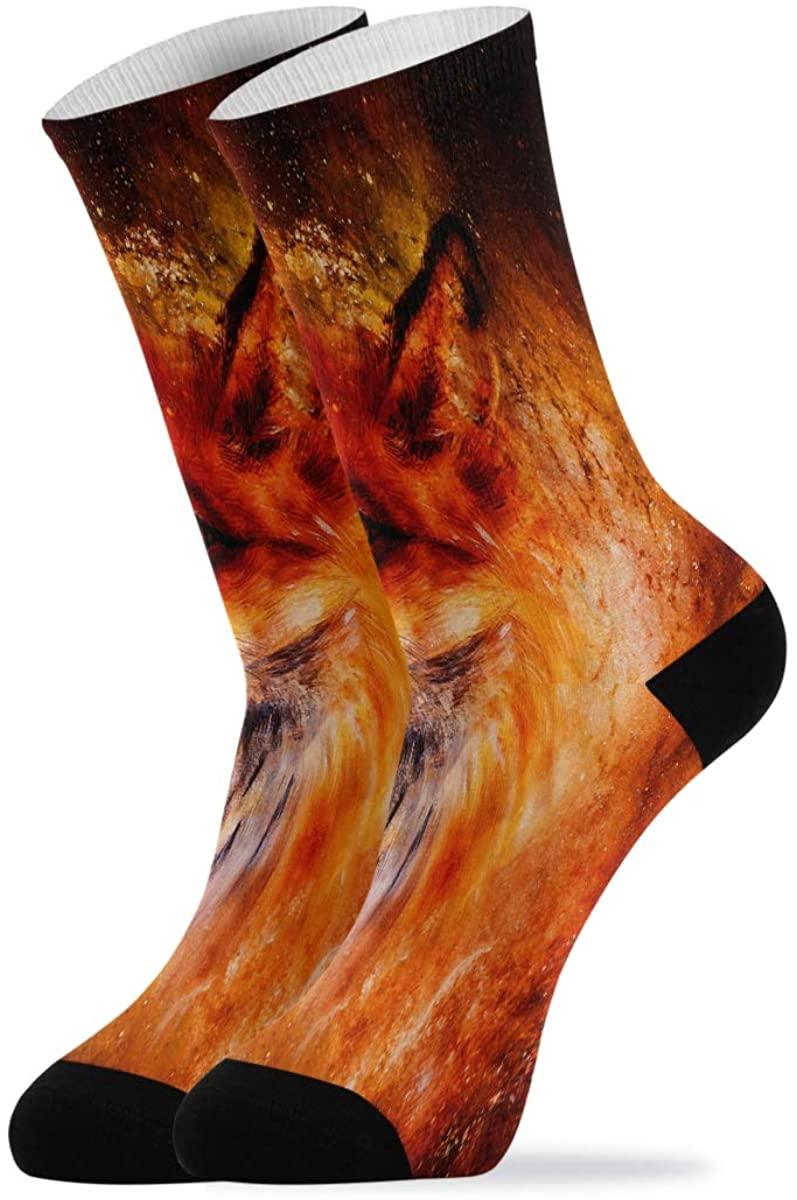Casual Socks Fire Fox In Space Novelty Crew Socks for Women Men Teen Boys Girls Unisex