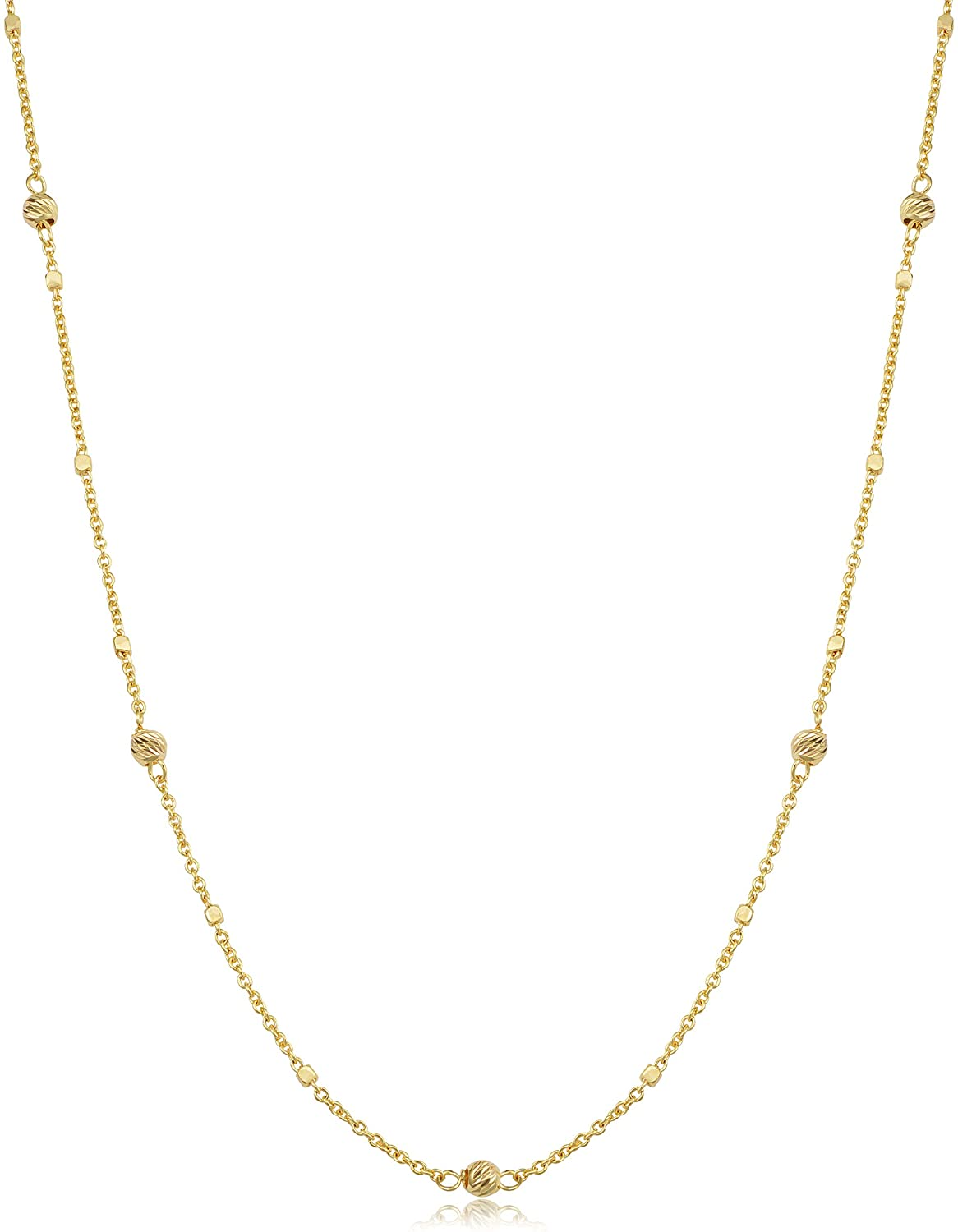 Kooljewelry 14k Yellow Gold Cube and Bead Station Necklace