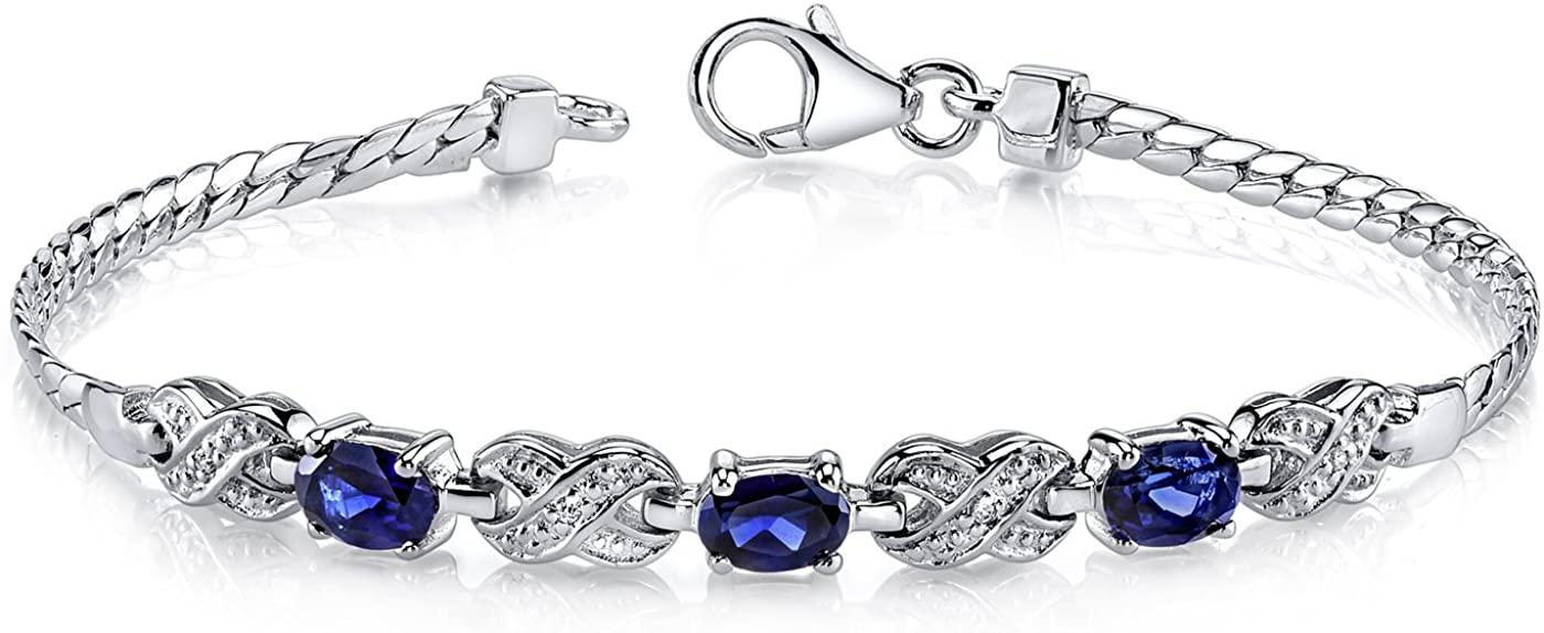 Created Sapphire 3 Stone Bracelet Sterling Silver Oval Shape