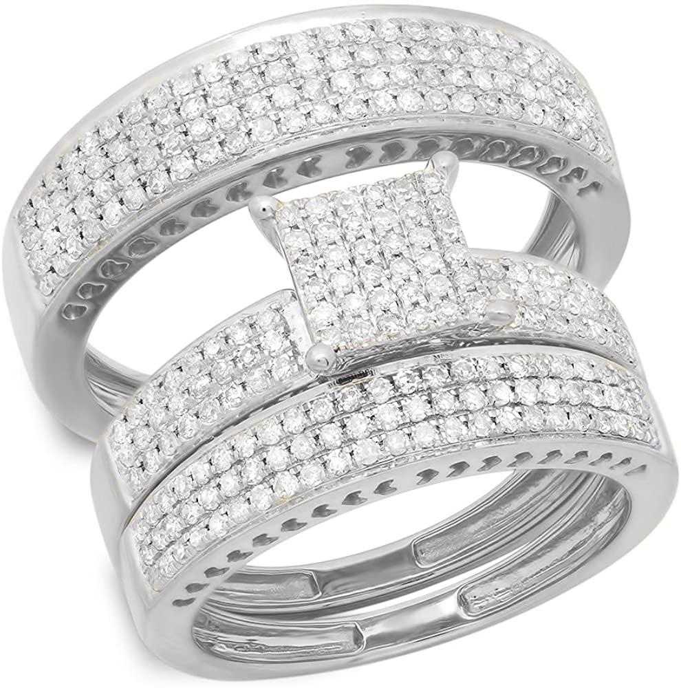 1.10 Carat (ctw) 10K Gold Round White Diamond Ladies & Mens Micropave Engagement Ring Trio Set Band 1 CT
