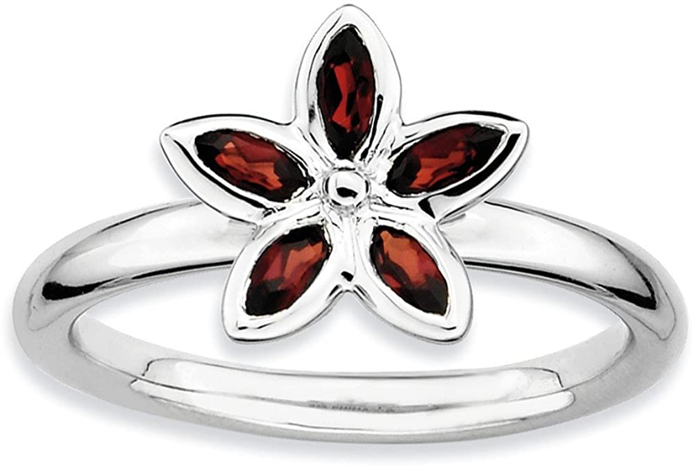 Sterling Silver Stackable Expressions Garnet Flower Ring Size 5