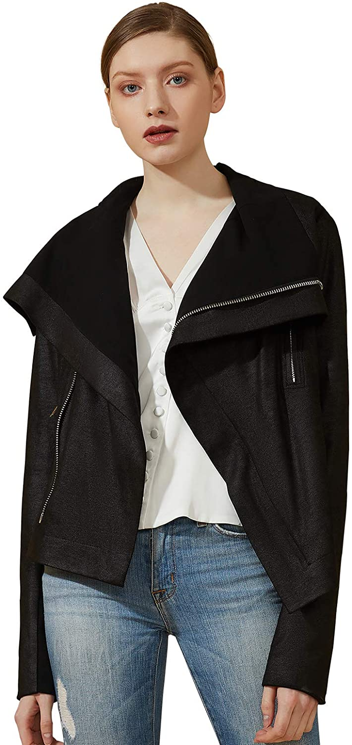 ANNA&CHRIS Escalier Womens Faux Leather Jacket Zipper Open Front Motorcycle Bike Coat with Pockets