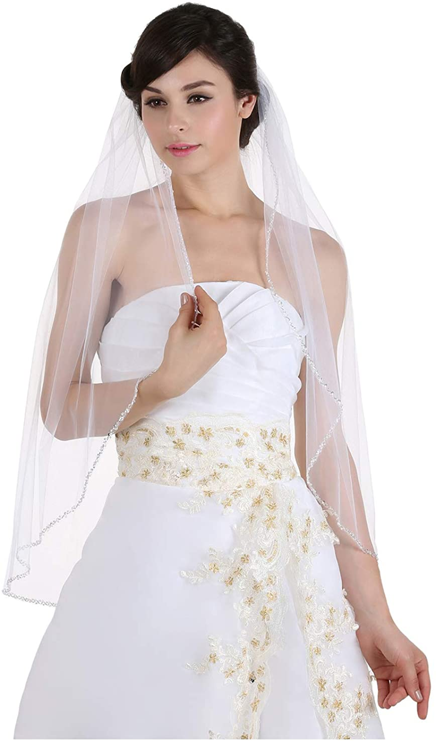 1T 1 Tier Crystals Pearls Beaded Wedding Veil Fingertip Length 36
