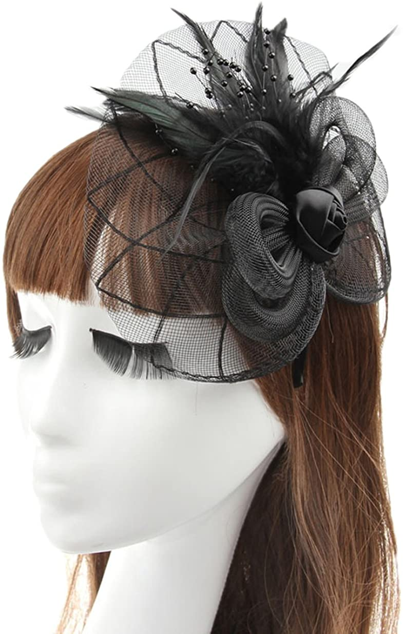 Belyee Feather Fascinator Hats for Women Cocktail Hats with Clip and Headband
