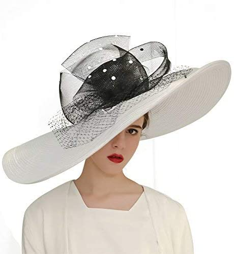 KUEENI Women Church Hats Designer Derby Hat Lady Wide Brim Sun Hats