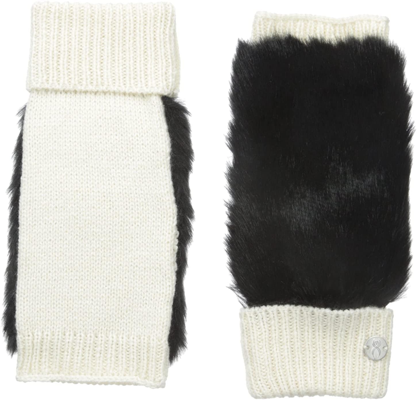 Spyder Womens Cuffed Faux Fur Fingerless Glove