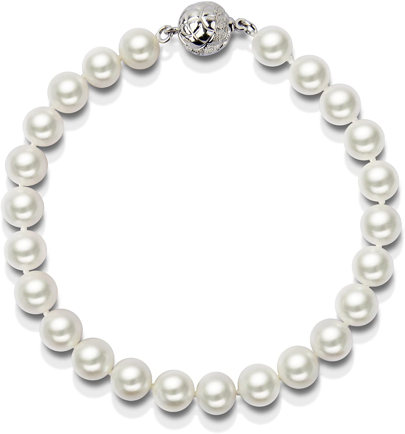 Single Strand AAA White Freshwater Cultured Pearl Bracelet 7.5-8.0mm