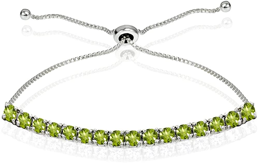 Sterling Silver 3mm Genuine or Synthetic Round-cut Chain Adjustable Pull-String Bolo Slider Tennis Bracelet
