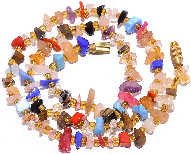 kanta incorporation Rose Quartz Citrine Black Onyx Uncut Smooth Beads Necklace 4-13 mm 19.5