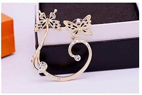Cute Butterfly with Ear Clip Ear Clip Ear Stud Women Color Statement Earring Metal Earing Hanging Fashion Jewelry Trend - (Metal Color: 1)