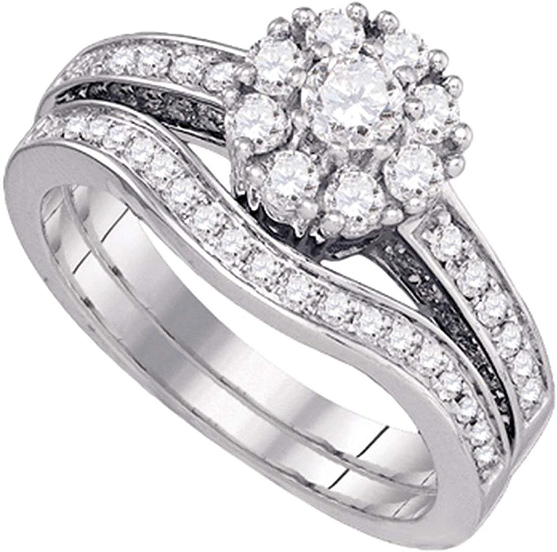 Dazzlingrock Collection 1 Carat (ctw) Round Diamond Bridal Wedding Ring Set 1 Ctw, 14K White Gold