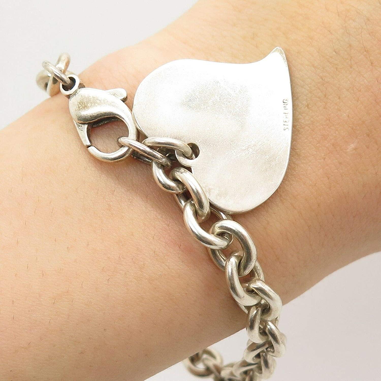 925 Sterling Silver Wide Rolo Link Heart Charm Bracelet 7.5
