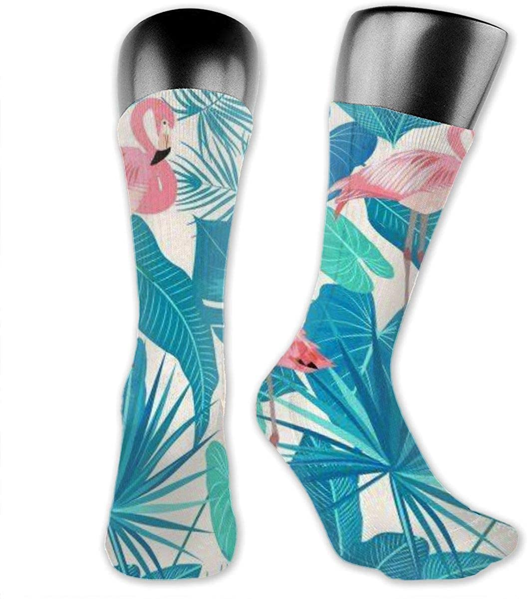 TINGHAI Flamingo Print Sporty Crew Socks For Woman Cute Tube Cotton Socks