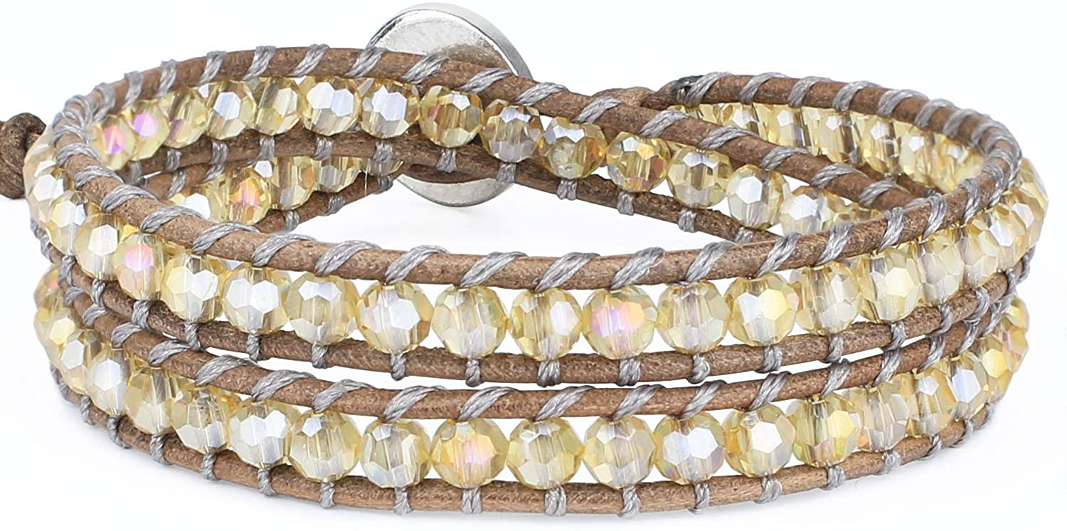 KELITCH Faceted Yellow Crystal Beads Leather 2 Wrap Bracelets Handmade Stackable Strand Cuff Bangle Jewelry(Yellow)