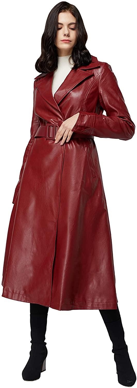 Elezay Women's PU Leather Slim Fit Long Coat Maxi Jacket with Belt