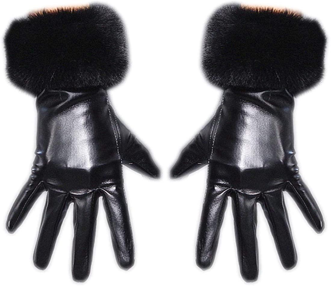 Women's Leather Dressy Touchscreen Gloves Faux Rabbit Fur Trim Cuff Winter Mittens