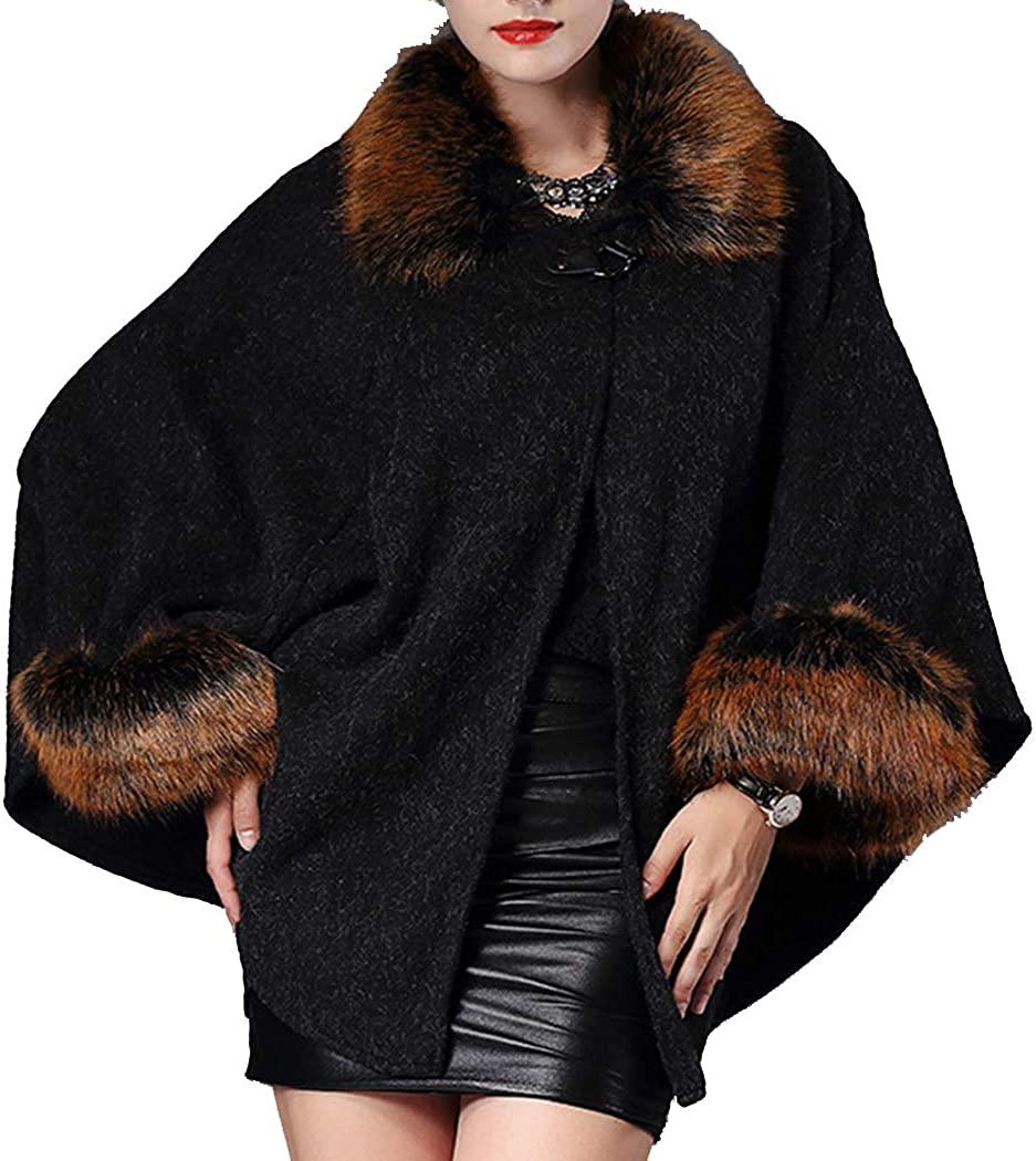 Helan Women's Luxury Fashion Style Faux Fox Fur Cape Coat