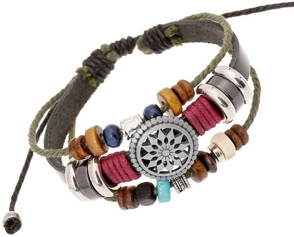 Staron Vintage Bracelet for Women Lady Bohemia Wind Beaded Multilayer Hand Woven Bracelet Wood Beaded Charm Bracelet Bangles Jewelry (A)