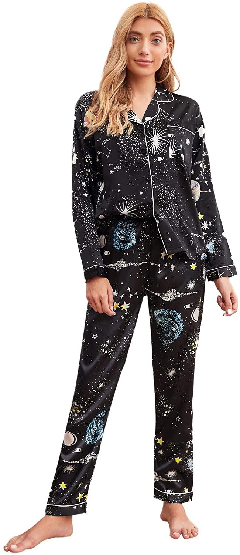 Milumia Women's Pajamas Set Floral Print Button Down Homewear Long Sleeve Loungewear Sleepwear PJ