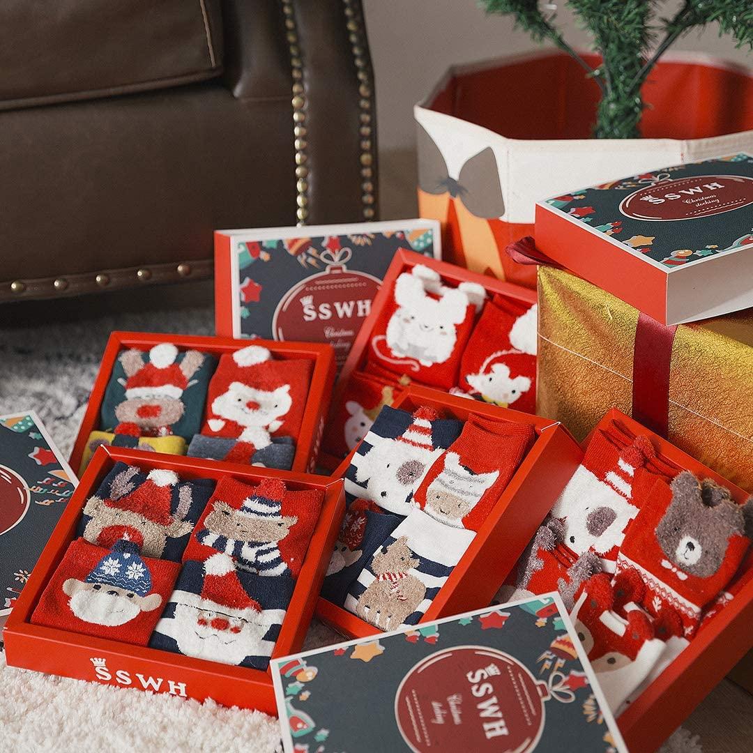 SEDENFO Christmas Socks Women,4 Pack Cotton Casual Christmas Crew Socks for Girls Novelty