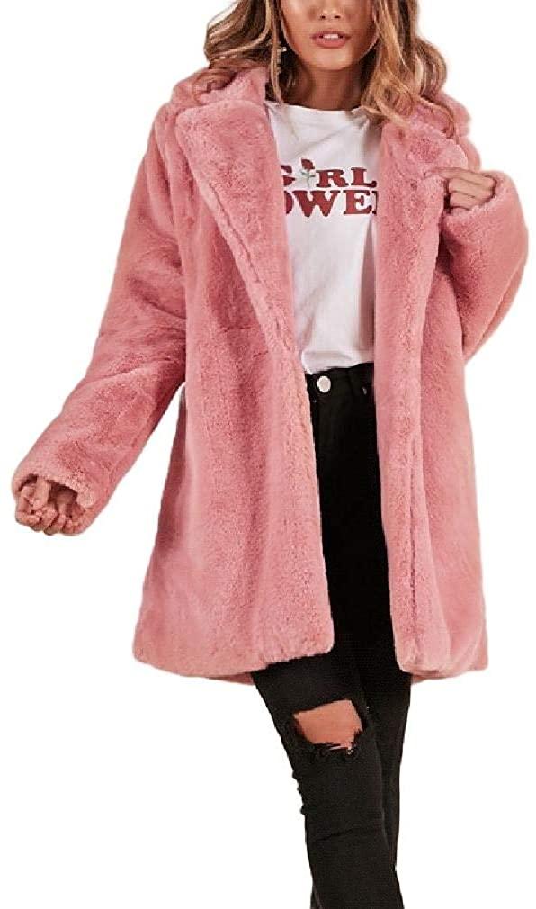 Abetteric Womens Shaggy Loose Outwear Cardigan Lapel Open Front Jacket Coat