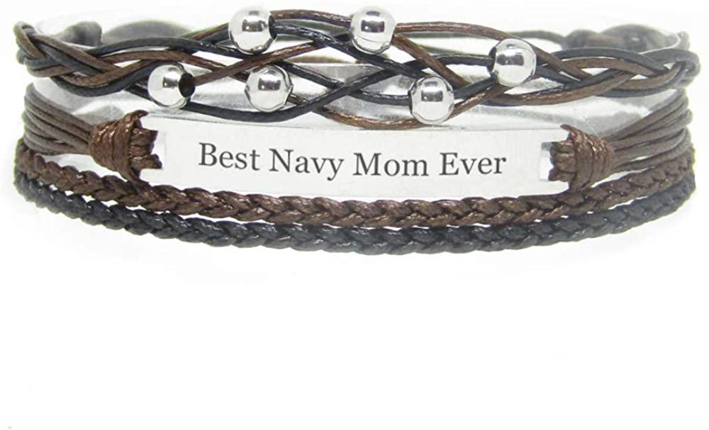 Miiras Family Engraved Handmade Bracelet for Women - Best Navy Mom Ever - Black - Made of Braided Rope and Stainless Steel - Gift for Navy Mom