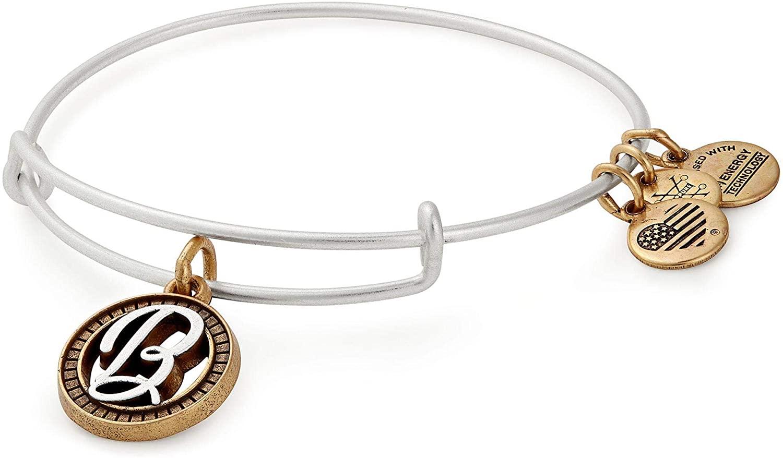 Alex and Ani Women's Initial B II Bangle Two Tone Bracelet, Rafaelian Silver