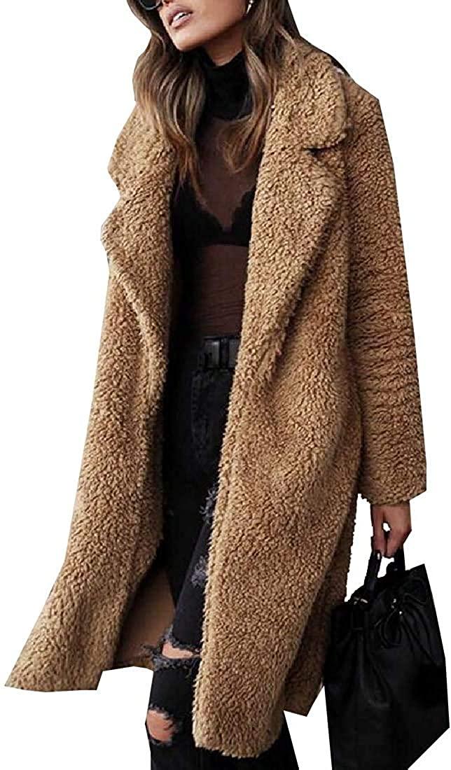 Jhsxydgy Womens Winter Long Sleeve Faux Fur Shearling Warm Shaggy Oversized Coat Fuzzy Jackets,3,XX-Small