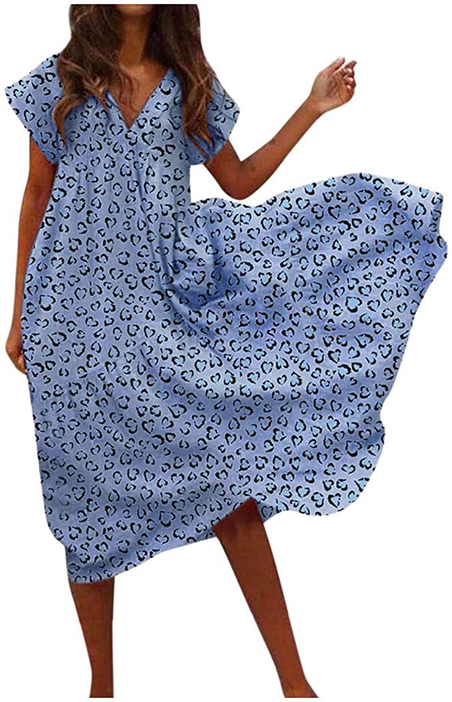 LATINDAY Women's Chiffon Print V Neck Short Sleeve Casual Boho Loose Maxi Dresses