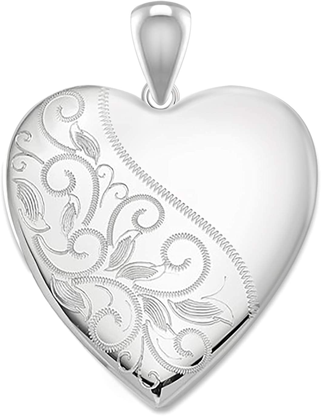 US Jewels And Gems Women's 1in 0.925 Sterling Silver Scrolled Ash Holder Heart Locket Pendant