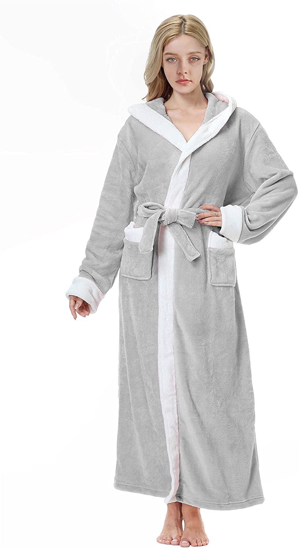 Hooded Plush Bathrobe Full Length Coral Fleece Spa Robe Shawl for Women and Men
